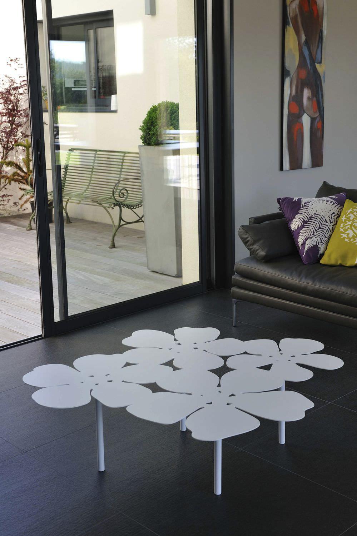Table Basse Design Original En Acier Galvanis En Aluminium  # Table De Jardin Acier Galvanise