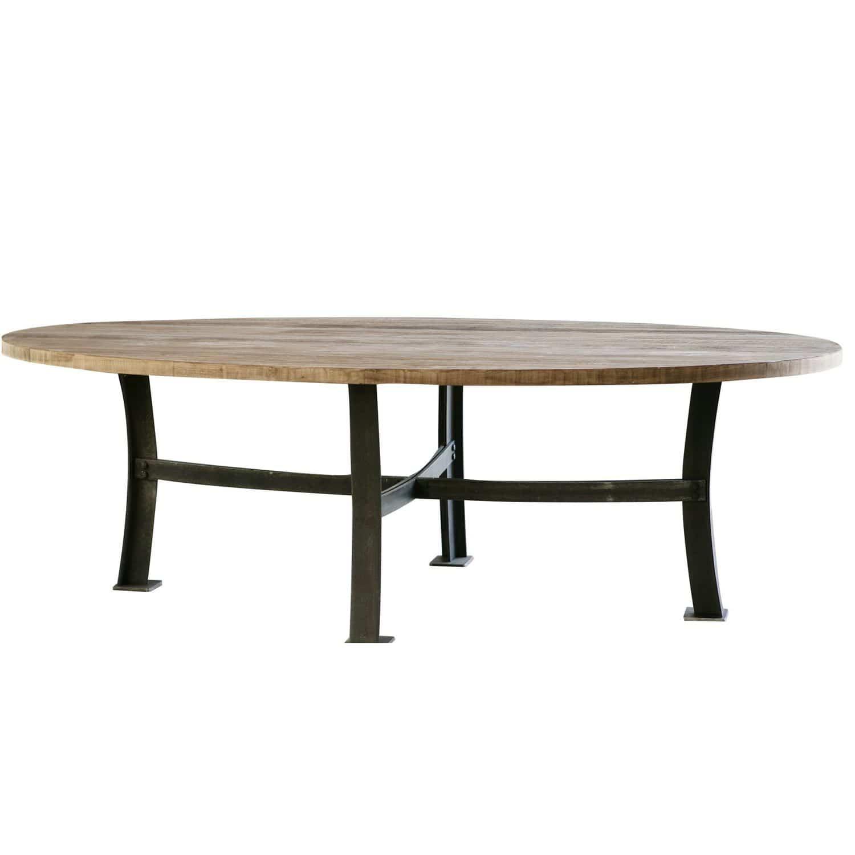 Table de style industriel / en acier / en teck / ronde   soho ...