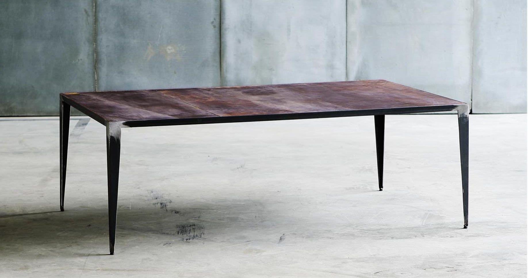 Table basse / de style industriel / en métal / en cuir   animal ...