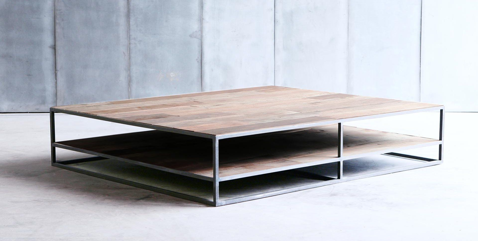 Table De Salon Industriel # Grande Table Basse Carre Indus