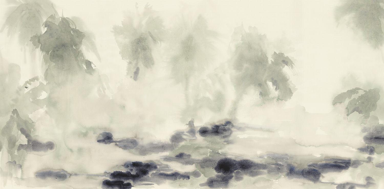 Papier Peint Classique En Coton à Motif Nature Bleu Oasis