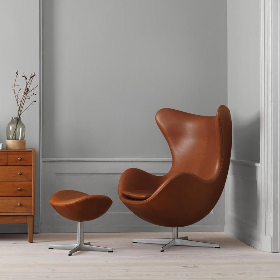 fauteuil design scandinave en tissu en cuir avec repose pieds egg - Fauteuil Scandinave Avec Repose Pied