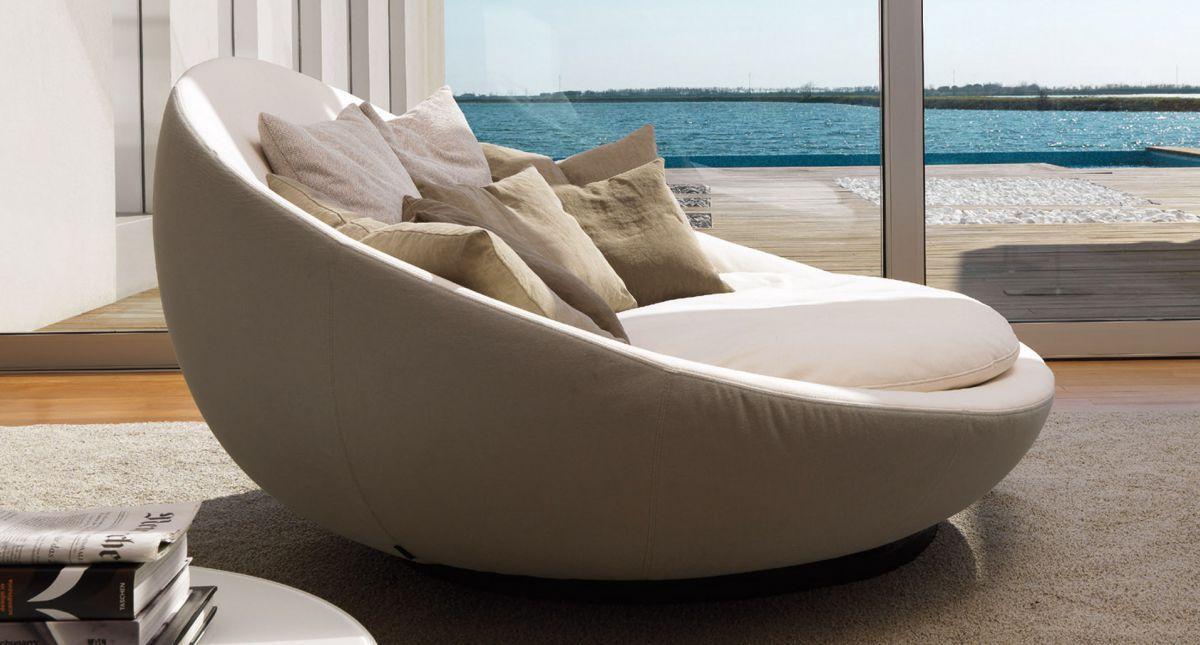 Canapé rond contemporain en cuir en tissu LACOON ISLAND by