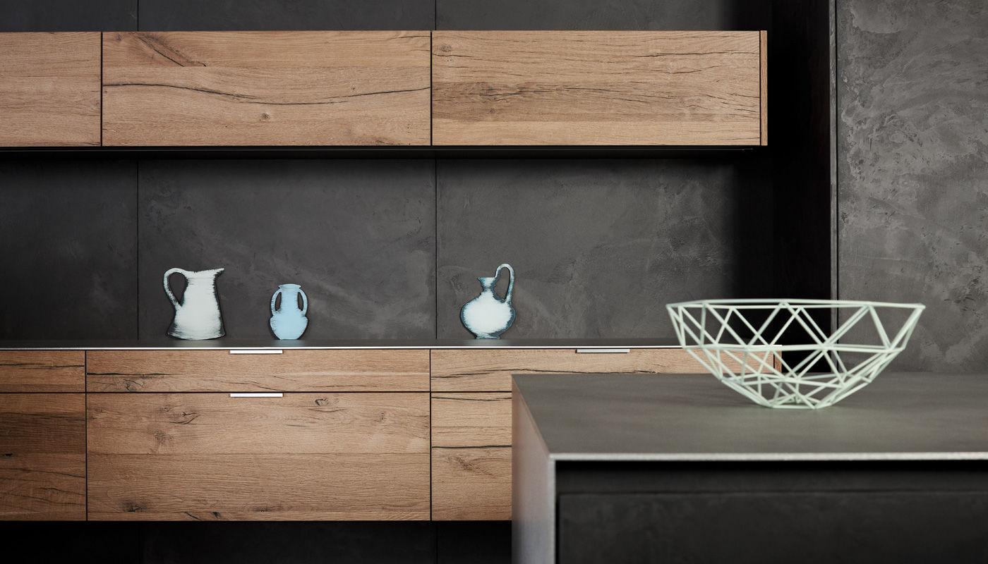 Cuisine contemporaine / en béton / en chêne / en plaqué bois ...