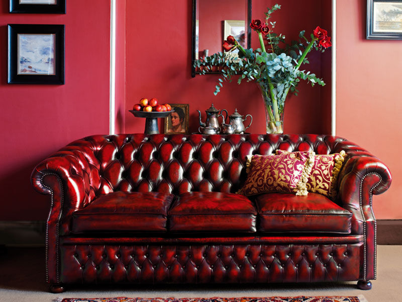 canap chesterfield en cuir 3 places rouge graham - Canape Chesterfield Rouge Cuir