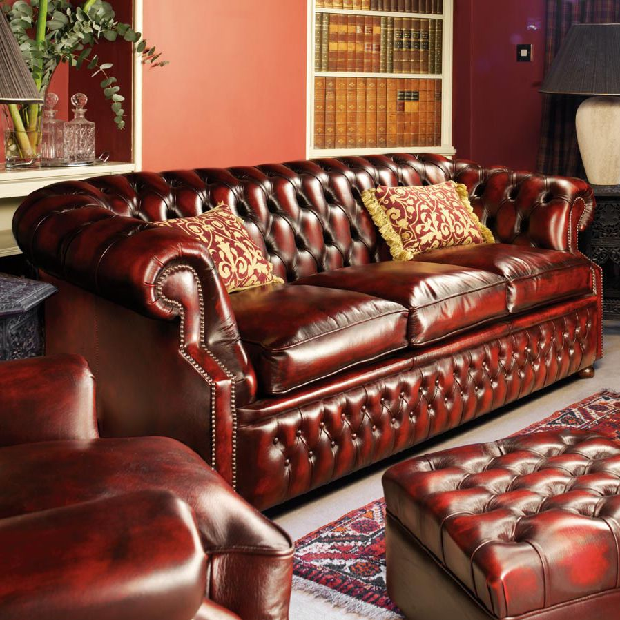 canap chesterfield en cuir 3 places rouge - Canape Chesterfield Rouge Cuir