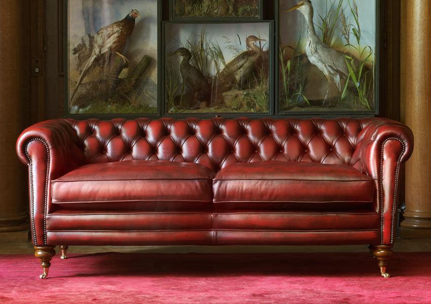 canap chesterfield en cuir 2 places rouge sebastian - Canape Chesterfield Rouge Cuir