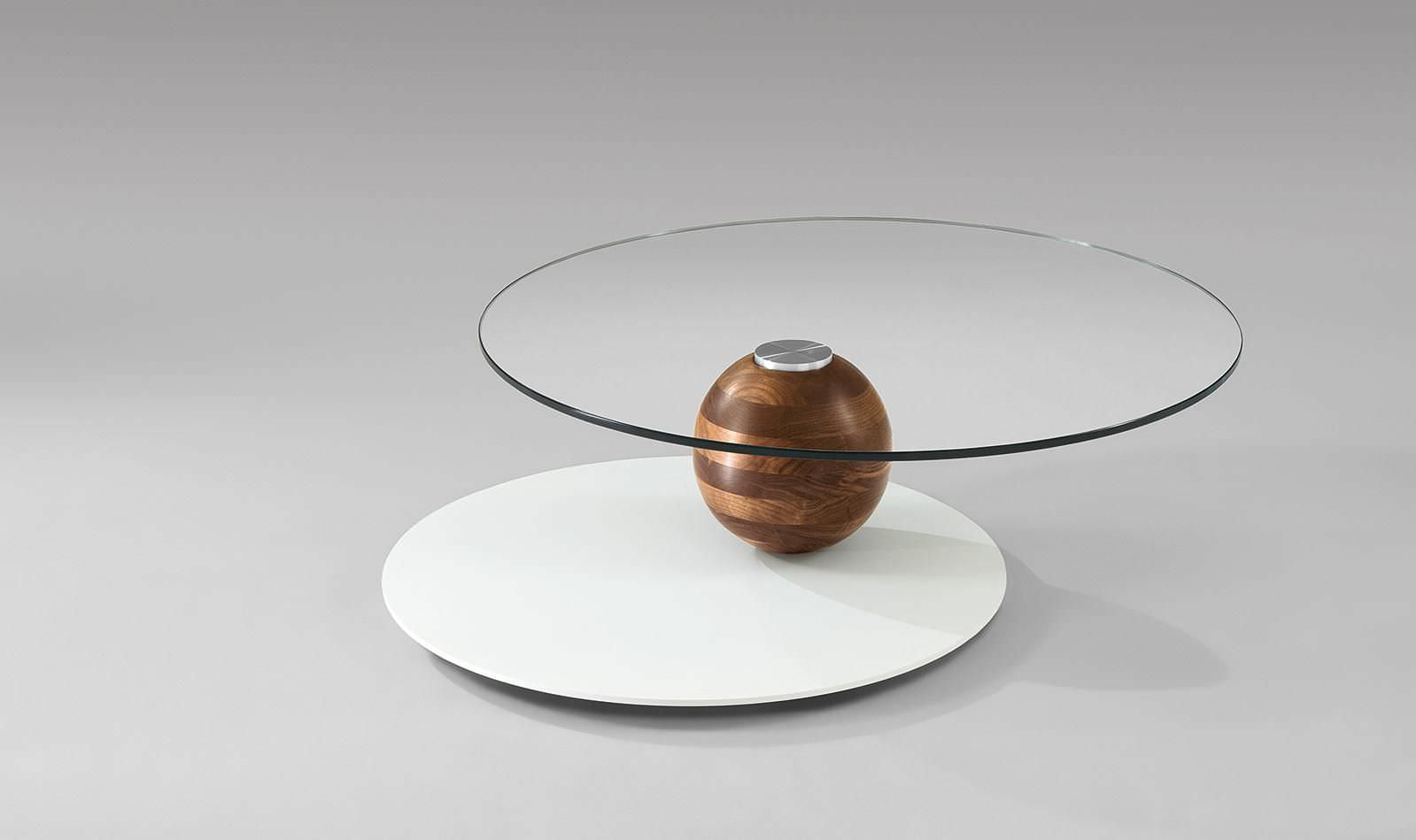 Table Basse Contemporaine En Bois En Verre Ronde 4317