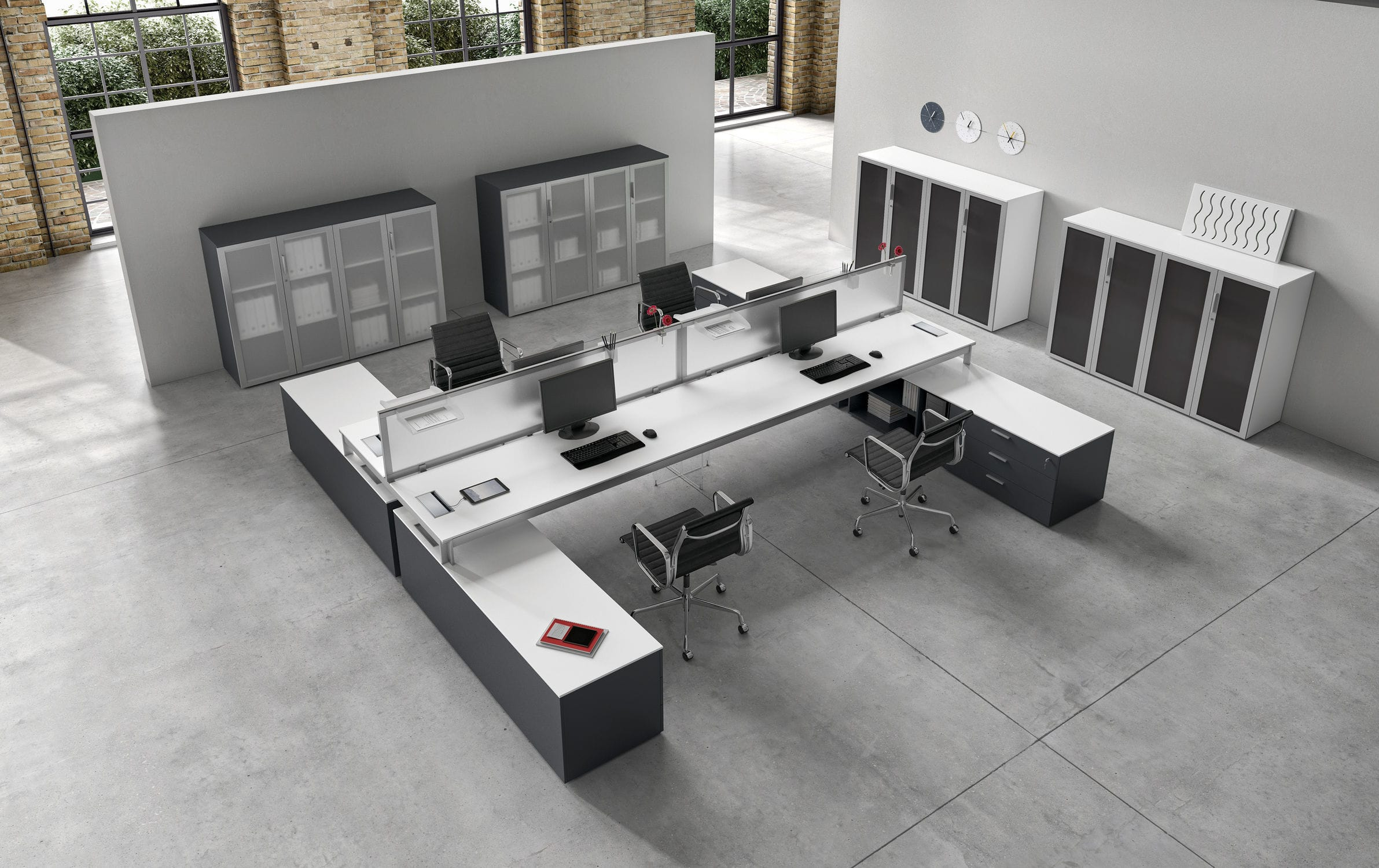 Bureau pour open space en plaqué bois en verre en mélaminé