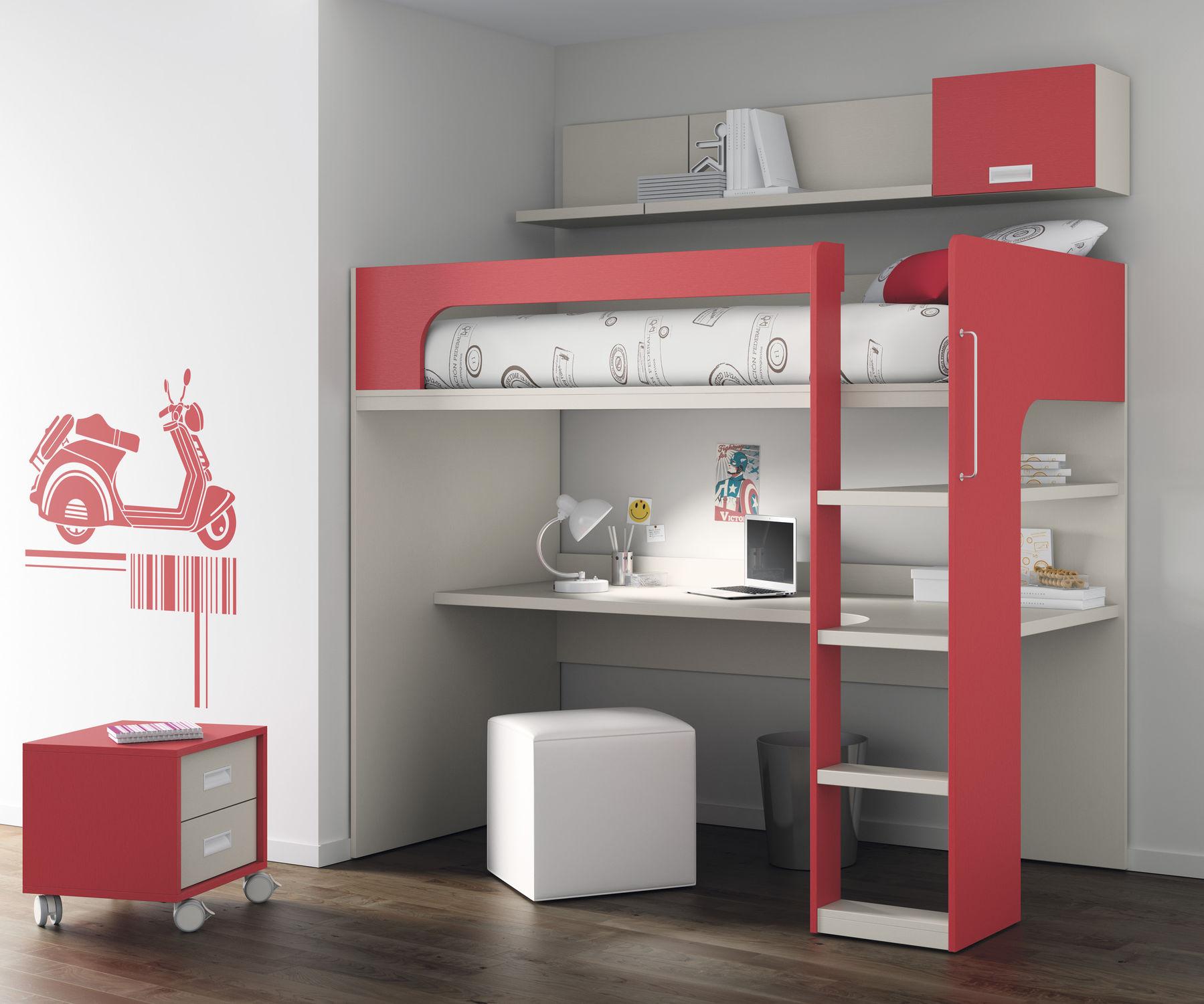 Lit mezzanine et bureau lit mezzanine en bois 2 places lit ...