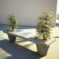 Banc public / contemporain / en béton / avec jardinière intégrée
