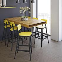 Chaise de bar contemporaine / tapissée / en tissu / en hêtre
