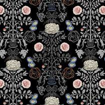 Tissu d'ameublement / pour rideaux / à fleurs / en polyester