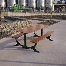 Table de pique-nique contemporaine / en HPL / en acier galvanisé / rectangulaire