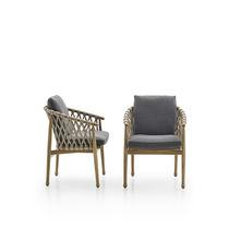 Chaise contemporaine / avec accoudoirs / avec coussin amovible / en tissu