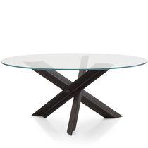 Table contemporaine / en verre / en acier / en acier inoxydable