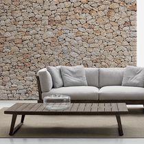 Table basse contemporaine / en teck / rectangulaire / de jardin