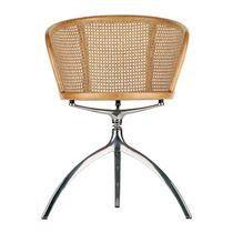 Chaise contemporaine / avec accoudoirs / pivotante / en fonte d'aluminium