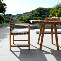 Chaise de salle à manger / contemporaine / en teck / en polyester