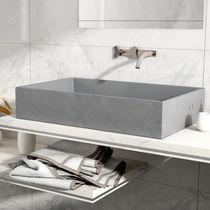 Vasque à poser / rectangulaire / en béton / contemporaine