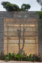Mur-rideau en panneaux / en métal / décoratif / perforé