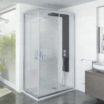 Cabine de douche multifonction / en verre / en aluminium / d'angle