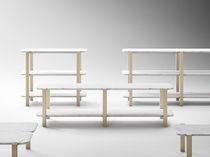 Étagère basse / contemporaine / en bois massif / en marbre