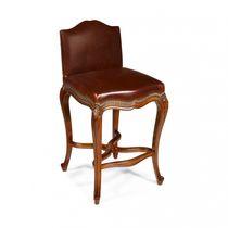 Chaise de bar de style français / tapissée / en tissu / en chêne