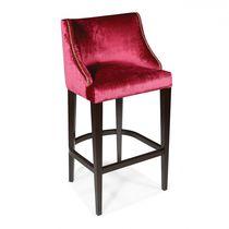 Chaise de bar contemporaine / tapissée / en tissu / en chêne