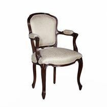 Chaise de salle à manger de style français / tapissée / avec accoudoirs / en tissu