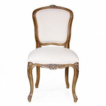 Chaise de salle à manger de style français / tapissée / en tissu / en cuir