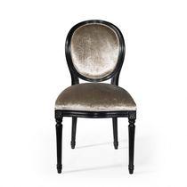 Chaise de salle à manger de style français / tapissée / médaillon / en tissu