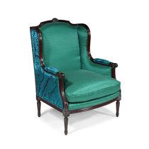 Fauteuil de style Louis XVI / en tissu / en cuir / en chêne