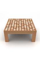 Table d'appoint contemporaine / en bois / carrée / sur mesure