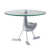 Table d'appoint / design original / en verre / en aluminium