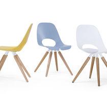 Chaise visiteur contemporaine / en bois / en métal