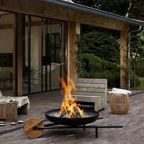 Brasero de jardin à bois / en acier / contemporain / avec barbecue