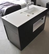 Meuble vasque à poser / en bois / contemporain