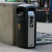 Poubelle publique / en inox / en plastique recyclé / avec cendrier intégré