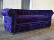 Canapé chesterfield / en velours / en acajou / 4 places