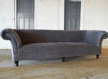 Canapé chesterfield / en velours / en acajou / 2 places