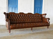 Canapé chesterfield / en cuir / en acajou / 2 places