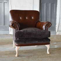 Fauteuil chesterfield / en velours / en cuir / marron