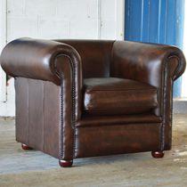 Fauteuil chesterfield / en cuir / marron