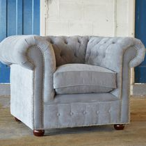 Fauteuil chesterfield / en velours / gris
