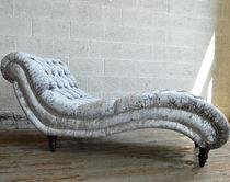 Chaise longue chesterfield / en tissu / en bois
