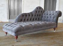 Chaise longue chesterfield / en tissu / à roulettes