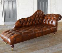 Chaise longue chesterfield / en cuir / à roulettes