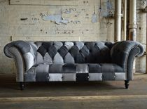 Canapé chesterfield / en tissu / 3 places / multicolore