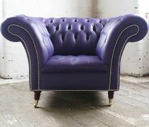 Fauteuil chesterfield / en cuir / à roulettes / violet